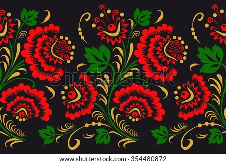 Ornament in style of Russian national tradition. seamless pattern - stock vector