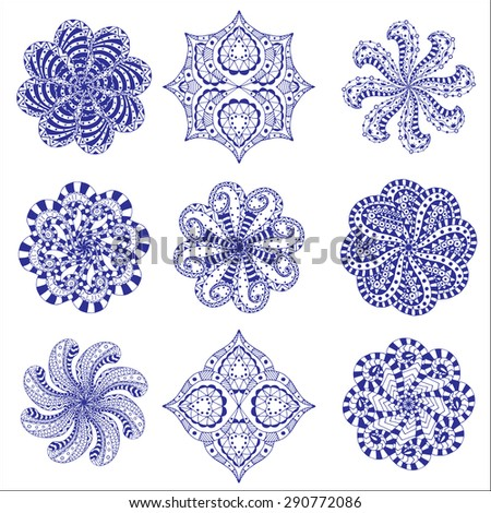 Ornament round set with mandala. Geometric circle element. Perfect set for any other kind of design, birthday and other holiday, kaleidoscope, medallion, yoga, india, arabic - stock vector