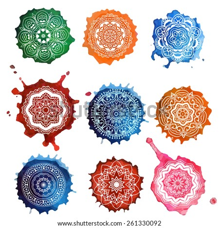 Ornament set card with mandala. Geometric circle element made in vector. Perfect cards for any other kind of design, birthday and other holiday, kaleidoscope,  Watercolor, yoga, india, arabic - stock vector