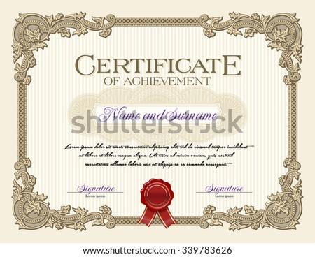 Ornament Vintage Frame Certificate of Achievement Alabaster - stock vector