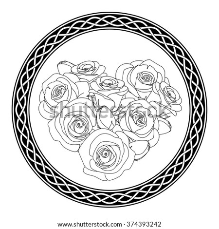 ornament with celtic motive and roses, antistress coloring page for adults, illustration - stock vector