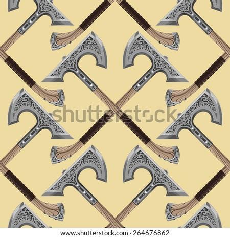 ornamental axe - stock vector