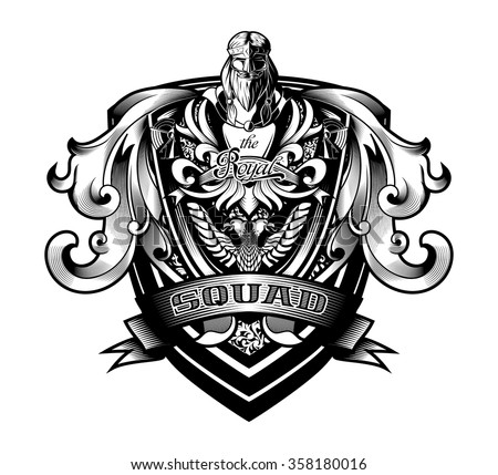 "Ornamental Baroque Heraldry Shield ""Royal Squad"" - stock vector"