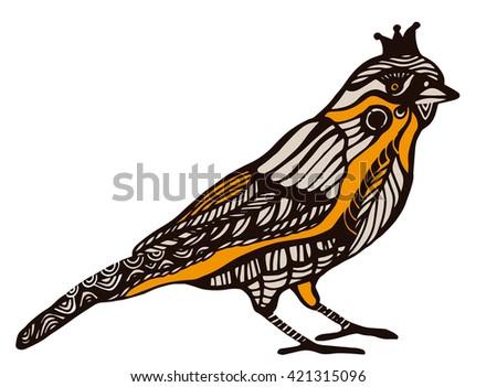 ornamental bird in vintage style - stock vector