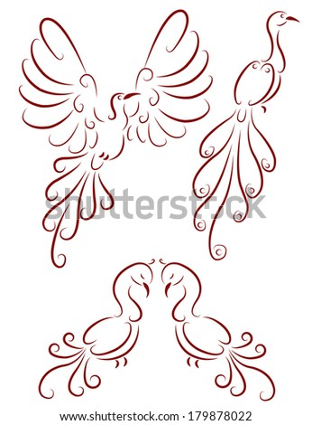 ornamental birds - stock vector