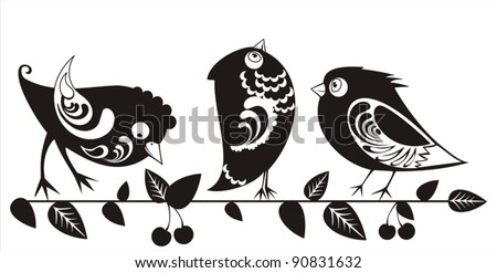 Ornamental birds  on  branch with decorative cherry. Black and white silhouettes. Vector illustration. - stock vector