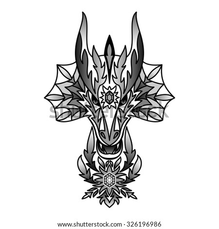 Ornamental Black Dragon. Vector illustration for  textile prints, tattoo, web and graphic design - stock vector