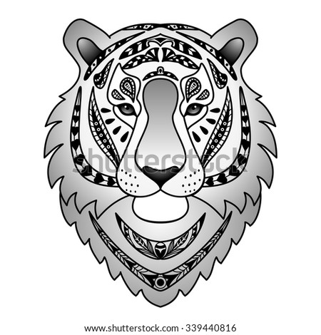 Ornamental Black Tiger. Vector illustration for textile prints, tattoo, web and graphic design