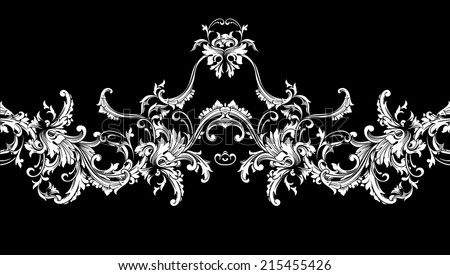 Ornamental border, frame. Baroque pattern. Vector seamless - stock vector