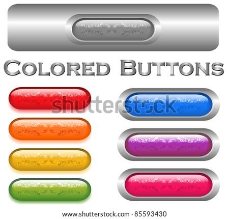 ornamental button collection. Vector design - stock vector