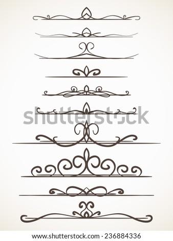 Ornamental calligraphic line page decoration Vector design element set - stock vector