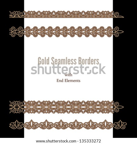 Ornamental chains, set of gold seamless borders with end elements - stock vector