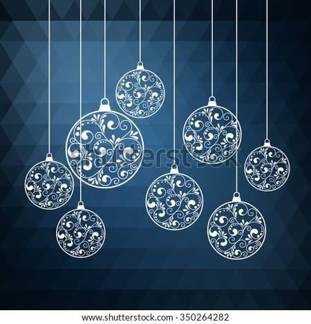 Ornamental Christmas balls with paper swirls. vector illustration - stock vector