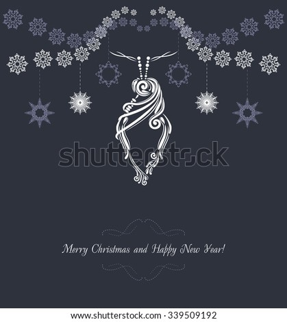 Ornamental Christmas tinsel on the dark background. Vintage postcard. Vector - stock vector