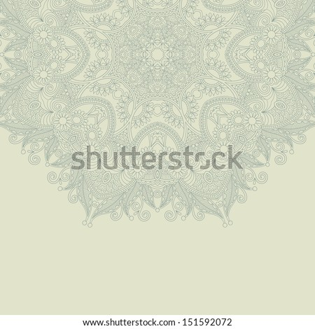 ornamental circle ethnic christmas snowflake background, winter design, lace doily ornament for merry christmas card, can be used for decorating of invitations, greeting cards - stock vector