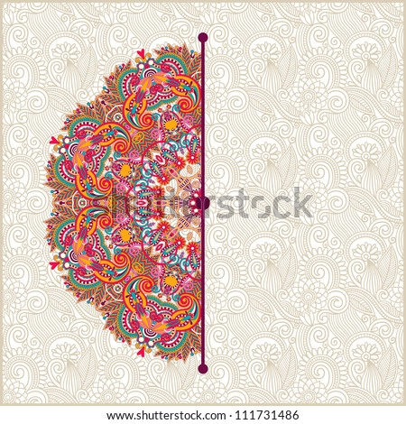 ornamental circle template with floral background - stock vector