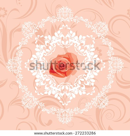 Ornamental circular element with rose on the seamless floral background. Vector - stock vector