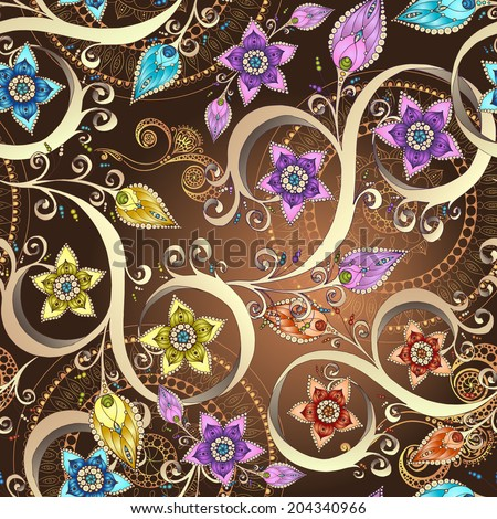 Ornamental colored floral pattern with flowers, doodles and paisley. Seamless vector background. - stock vector