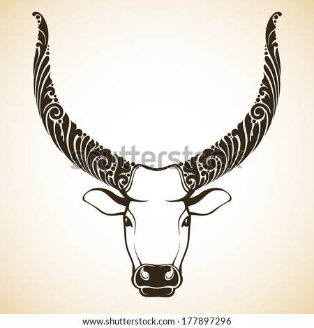 Ornamental decorative bull - stock vector