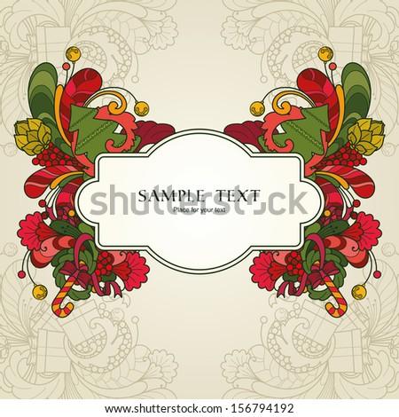 Ornamental decorative Christmas frame - stock vector