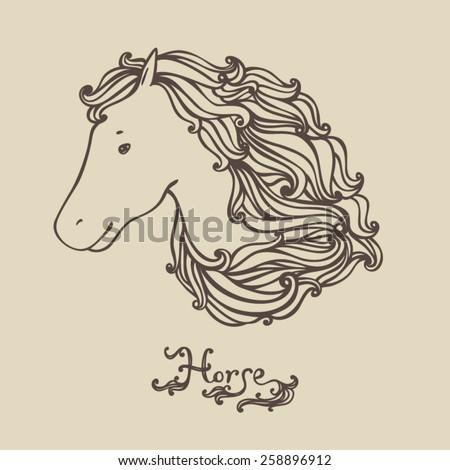 Ornamental decorative horse - stock vector