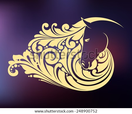 Ornamental decorative horse with a beautiful mane on night blurred background - stock vector