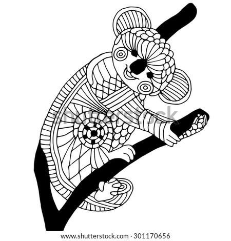 Ornamental decorative koala - stock vector