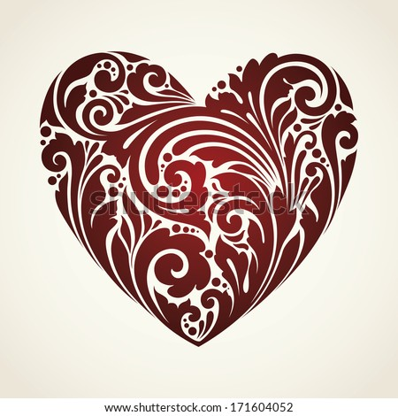 Ornamental decorative symbol heart  - stock vector