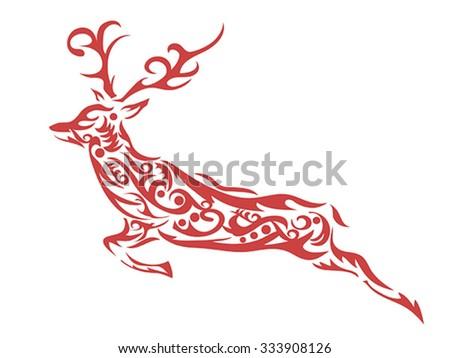 ornamental deer - stock vector
