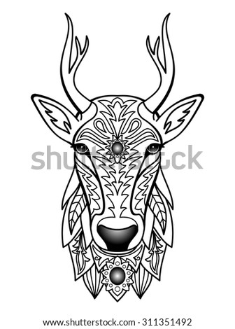 Ornamental Deer. Vector illustration for textile prints, tattoo, signs, web and graphic design - stock vector