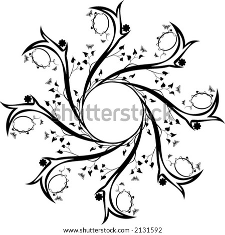 ornamental design with leaves and butterflies - stock vector