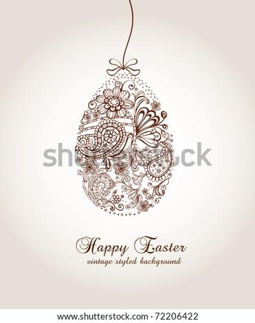 Ornamental easter egg - stock vector