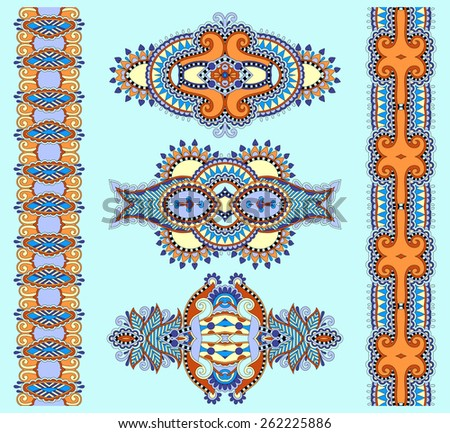ornamental ethnic decorative floral adornment, vector illustration in blue color - stock vector