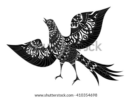 T Shirt Design Line Art : Ornamental fantasy bird hand drawn vector stock 2018