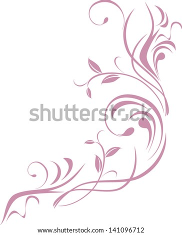 Ornamental floral element for design isolated on the white. Vector - stock vector