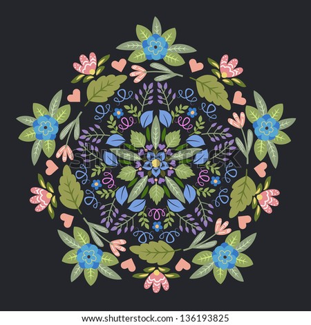 Ornamental floral round pattern