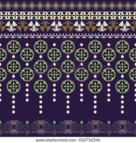 Ornamental floral seamless pattern. Vintage border. Design for ribbon, textile, wallpaper, wrapping paper - stock vector