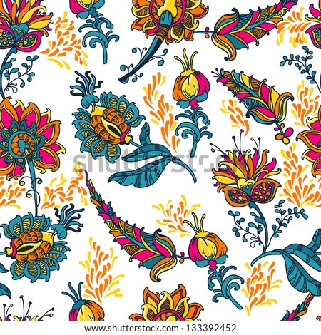 ornamental  floral  vector seamless background with many details - stock vector