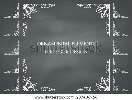 Ornamental frame on chalkboard background. Vector set - stock vector