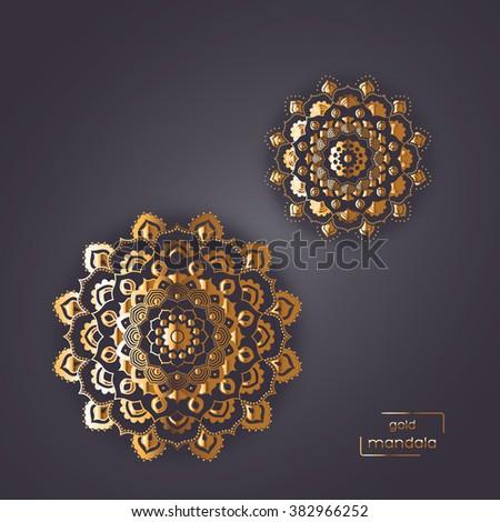 Ornamental gold card with two flower oriental mandalas on dark background. Ethnic vintage pattern. Indian, asian, arabic, islamic, ottoman motif. Vector illustration. - stock vector
