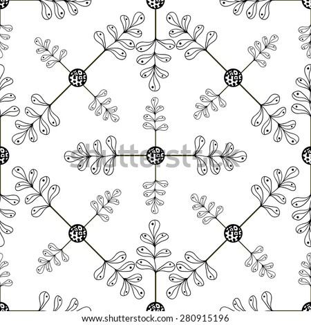 Ornamental hand drawn leaves background. Seamless pattern with leaves for your design wallpapers, pattern fills, web page backgrounds, surface textures. Vector print  - stock vector