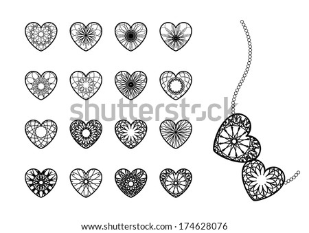 Ornamental heart symbols. Vector set - stock vector