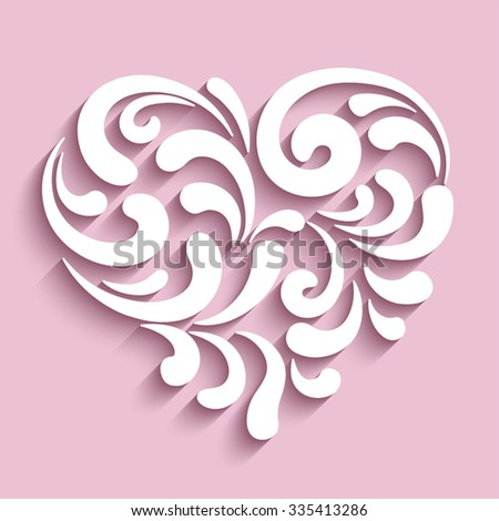 Ornamental heart with cutout paper swirls, vector heart icon, eps10 - stock vector