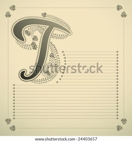 ornamental letter - T - vector - stock vector