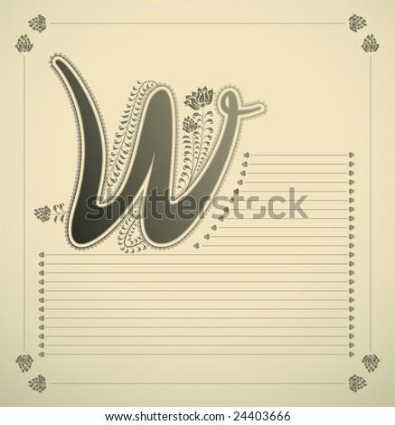 ornamental letter - W - vector - stock vector