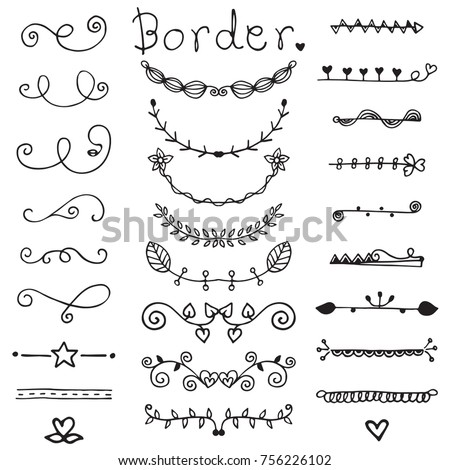 Ornamental Lines Stripes Doodle Free Hand Stock Vector 756226102 ...