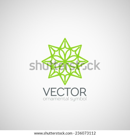 Ornamental logo template design. Vector circular symbol - stock vector