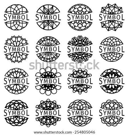 Ornamental logo template set. Vector geometric symbols - stock vector