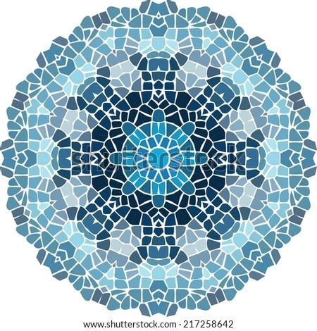 Ornamental mandala, pixel art, blue color, stock vector.  - stock vector