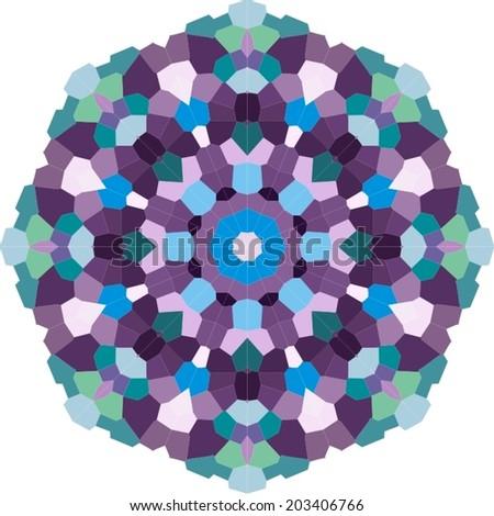 Ornamental mandala. Pixel art. Vector illustration.  - stock vector